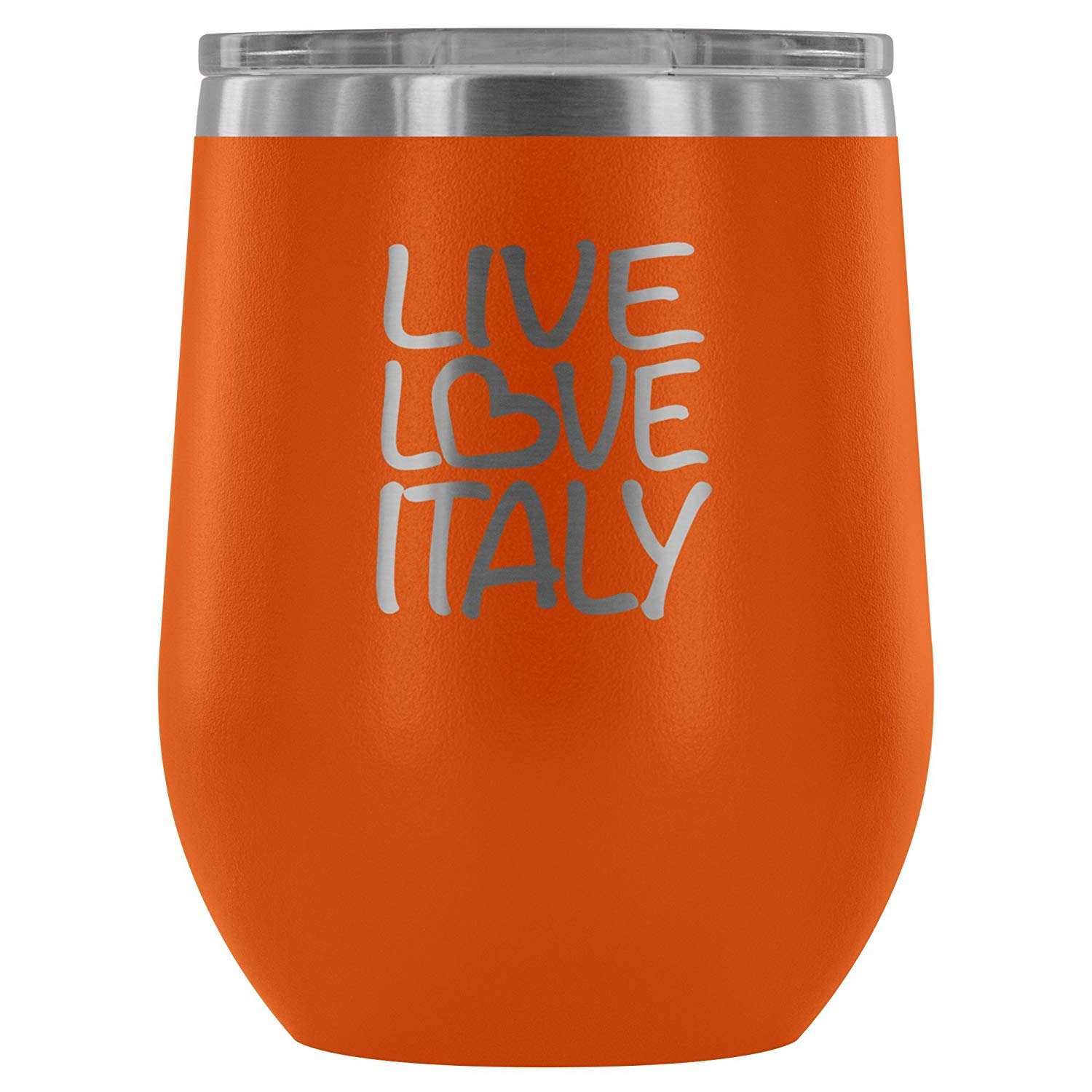 39c776780c2 Insulated Wine Tumbler with Lid – Live Love Italy - 12 oz Stemless  Stainless Steel Wine Glass – Double Wall Vacuum Insulated Travel Cup for  Wine, Coffee, ...