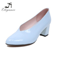 2017 Ladies Fashion Sky Blue Genuine Patent Leather Block Heel Pumps Shoes