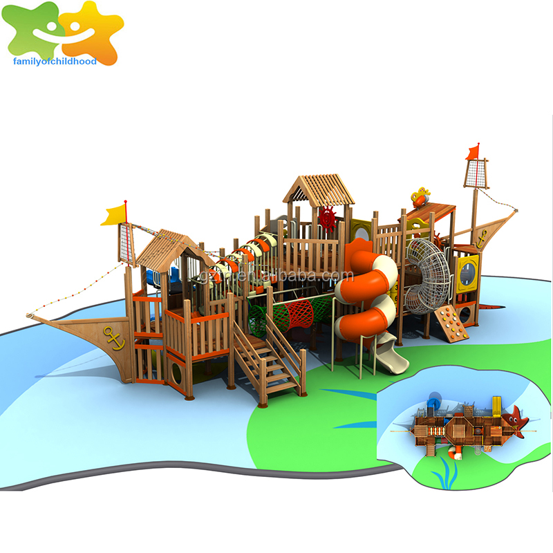 Wooden kids pirate ship outdoor playground outdoor play for sale