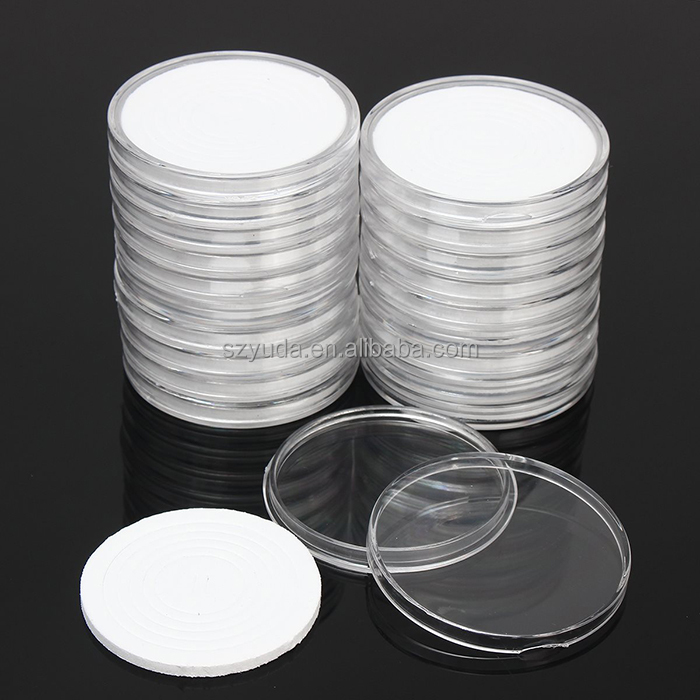 Injection Molding Plastic Full Size Choose Wholesale 50 Diameter 15mm Deep Coin Capsules Clear Acrylic Coin Protective Box