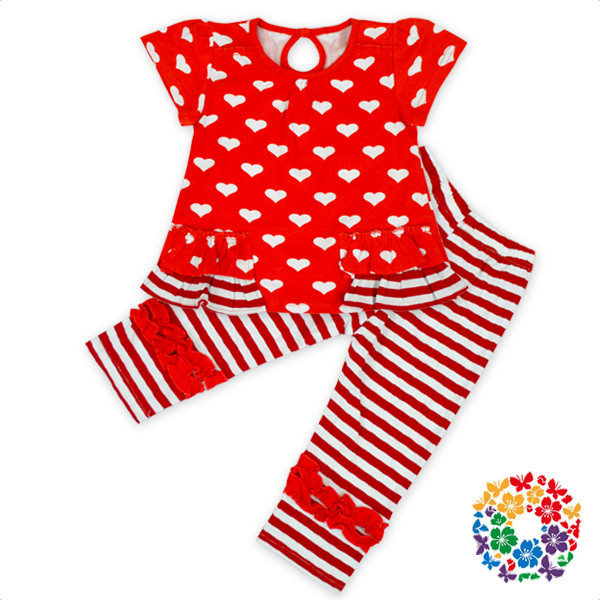 Heart Print Valentines Day Girls Outfit Cotton & Polyester Spring Clothes Set Stylish Baby Clothes Wholesale