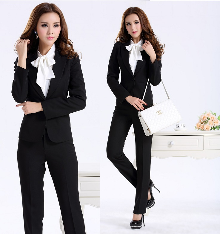 New 2015 Autumn Winter Professional Business Women Suits With Pants Formal  Office Uniform Design Work Wear Pantsuits Blazer Set 0b8341dde