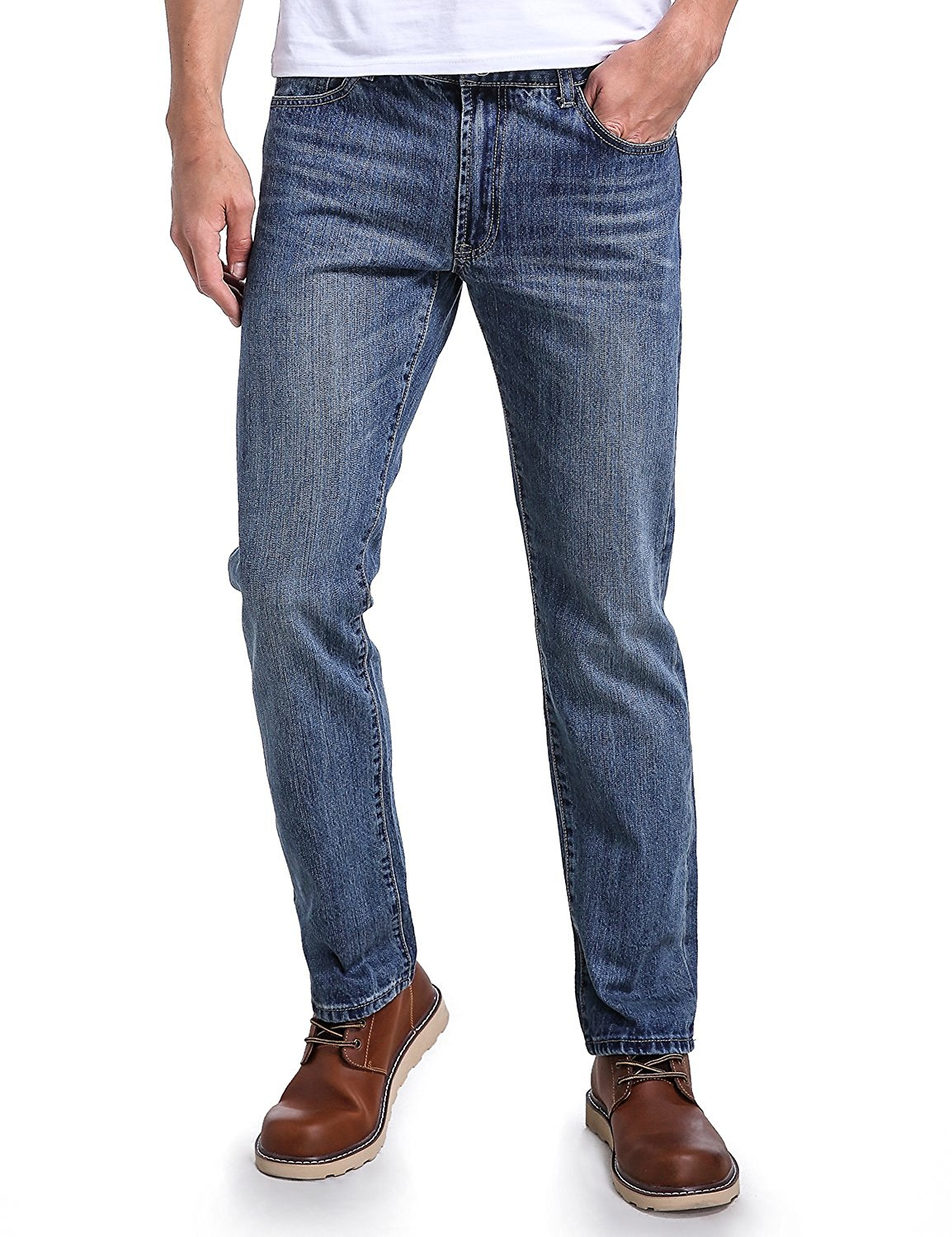 efe2b160 Get Quotations · Eaglide Mens Relaxed Fit Comfort Straight Leg Jeans, Five  Pocket Fashionable Jeans 36W × 34L