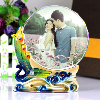 New Design Color Printing Crystal Glass Photo Frame,Crystal Cube ...