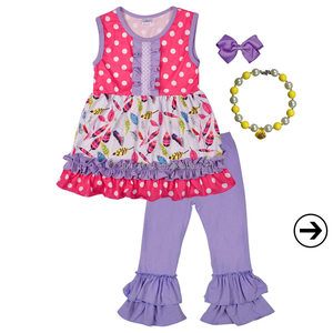 raglan ruffle giggle moon girls boutique outfit with necklace