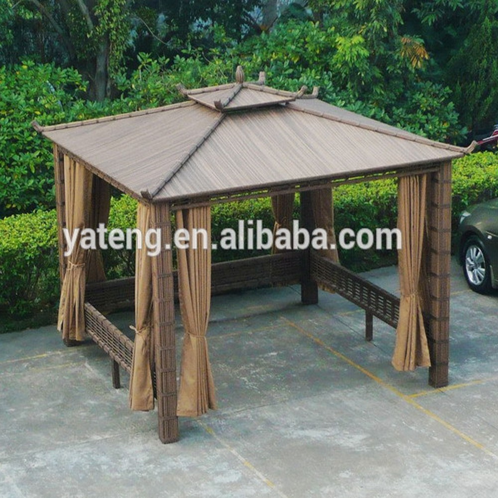 All weather rattan outdoor furniture garden gazebo tent for Outdoor furniture gazebo