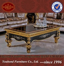 0061 European antique luxury golden living room furniture design wooden coffee table