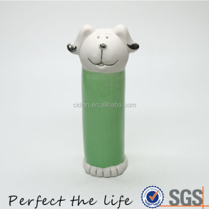 Wholesale Cheap Green Cylinder Dog Animal Designed Ceramic Coin Bank Money Box