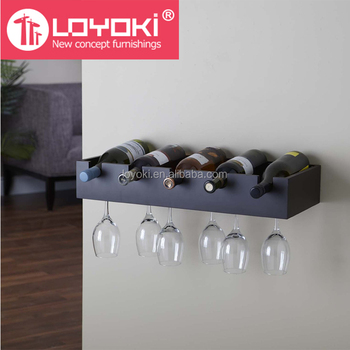 5 Bottle Wine Display With Glass Holder Mdf Wooden Wall Mounted