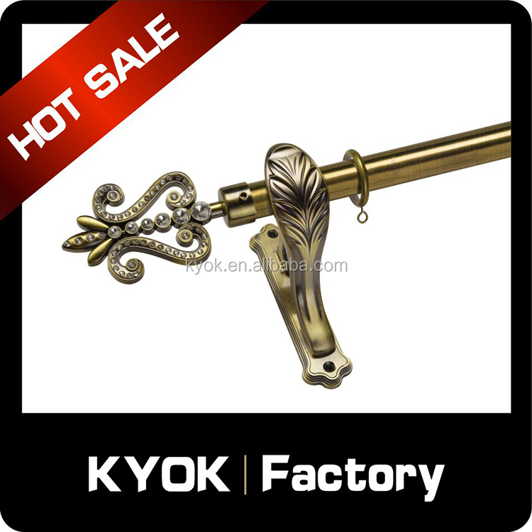 Hot selling Muslim style single and double curtain rod set, galvanize embossed iron curtain tube, slide smoothly metal eyelets