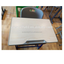 Low price MDF school furniture wooden study student table with chair