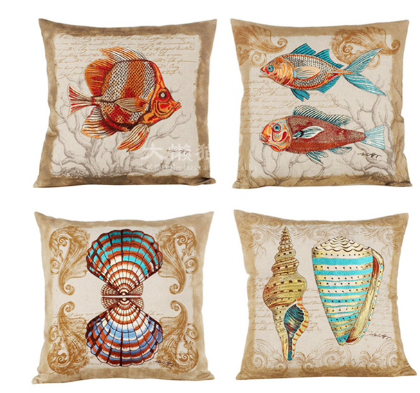 Marine Embroidery American Square Pillow Sea Ocean Shell