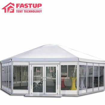 Factory price White color Multi-Sidewall single high peak pagoda gazebo canopy tent with glass window and ABS hard wall