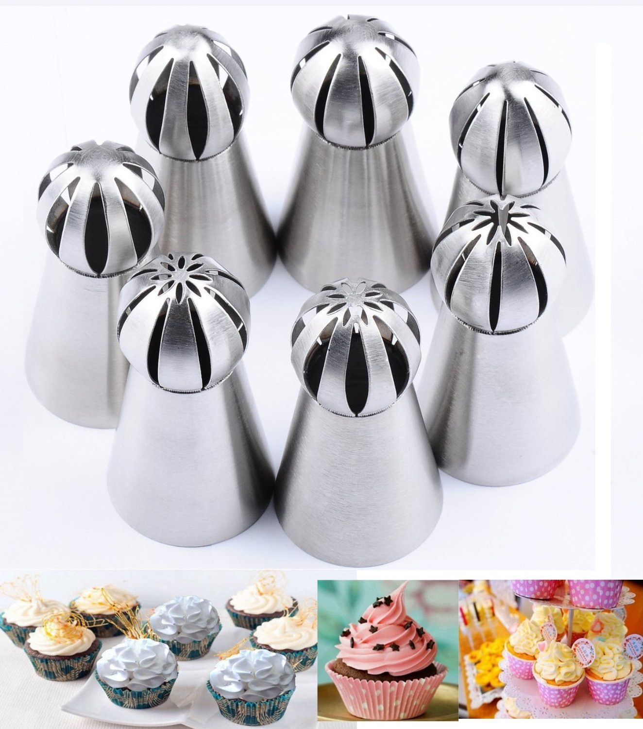 Joinor NEW Version 7pcs Set Stainless Steel Sphere Ball Tips Russian Icing Piping Nozzles Tips Pastry Cake Fondant Cupcake Buttercream DIY Baking Tools