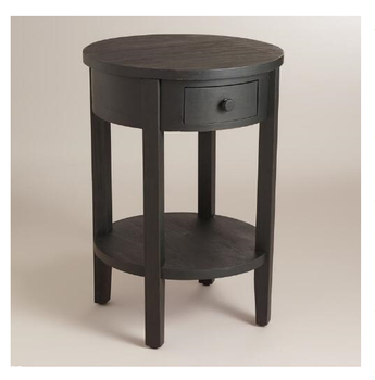 Antique Black Round Accent Table Wood Side Table For Hotel Room