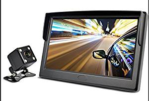 ZEROXCLUB Car Backup Camera and 5.0 LCD Rear View Monitor Kit For Car,Universal Wired Waterproof Rear-view License Plate Car Rear Backup Camera MZ05 (black) (MZ05 - 5 inch)