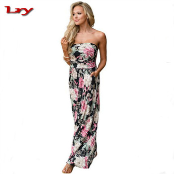230d4bbf43 Women sexy tube top sleeveless floral print long dress boho maxi dress with  high waist