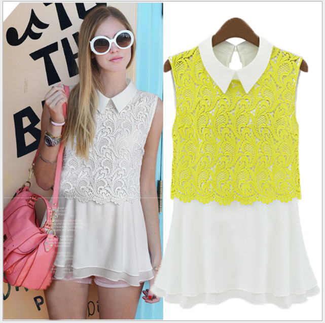 S31383A European hot summer blouses fancy lace joining bodycon vest tops