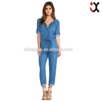 Salopette Pour D'été Jean En Combinaison Manches À Dames Femme Jeans 1nxw484
