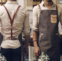 Coffee shop restaurant apron leather denim apron men and women leather strap apron customization plus logo