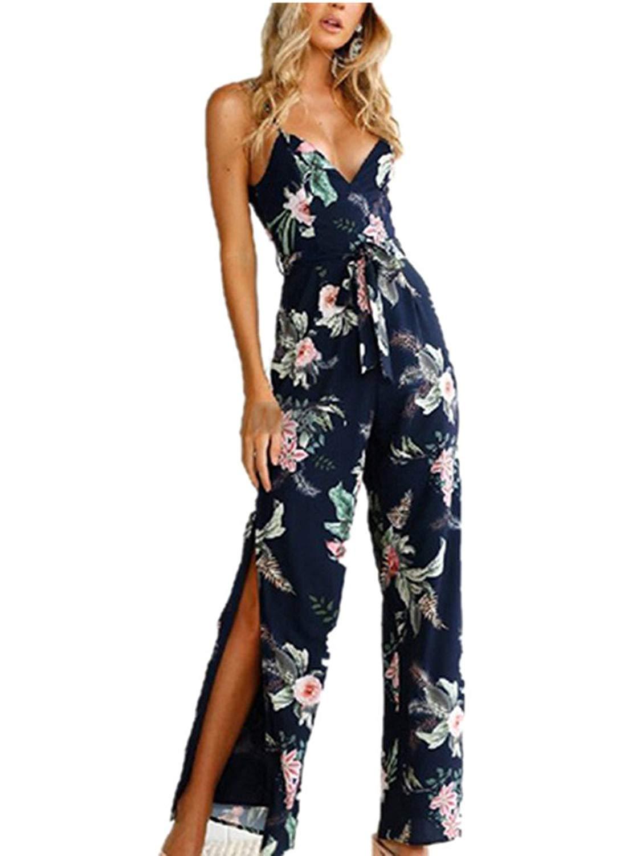 c8349e8227d6 Get Quotations · Xuan2Xuan3 Women Floral Print Jumpsuit Sleeveless Backless Sexy  Wide Leg Long Pant Jumpsuit Romper Blue