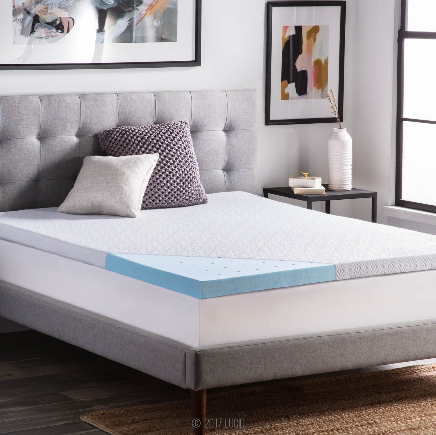 LUCID 2.5 Inch Gel Infused Ventilated Memory Foam Mattress Topper with Removable Tencel Blend Cover 3-Year Warranty - Twin XL Size
