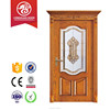 Solid oak wood framed glass frosted insert main gate designs interior room wooden door