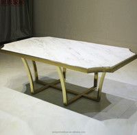 Rectangular Gold Marble Console end Table