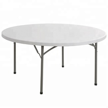 4567ft Round Dining Table Waterproof White Plastic Outdoor Table Set for Party Suitcase HDPE Folding Round Table and Chairs