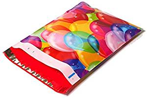 Poly Mailers Balloons Designer Mailers Shipping Envelopes Boutique Custom Bags Blue, Green, Pink, Yellow, Red, Purple #SmileMail (100 10x13)