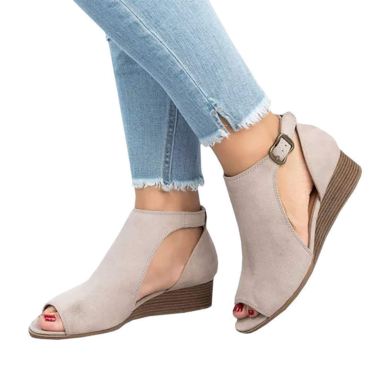 YING LAN Womens Summer Cut Out Espadrille Platform Wedge Sandals Fashion Ankle Strap Block Low Heel Shoes