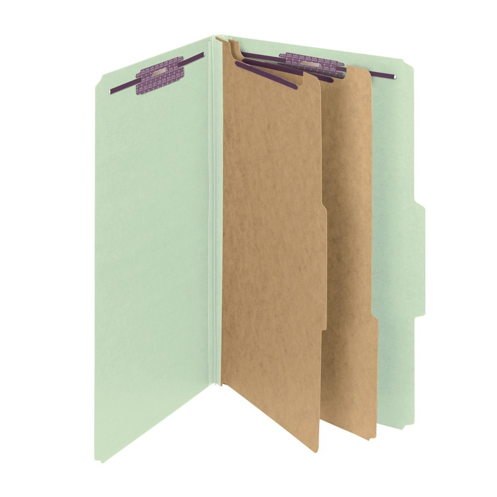 "Smead Pressboard Classification File Folder with SafeSHIELD Fasteners, 2 Dividers, 2"" Expansion, Legal Size, Gray/Green, 10 per Box (19076)"