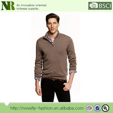 Männer hoch merinowolle Hälfte- zip strickpullover reine farbe <span class=keywords><strong>pullover</strong></span>