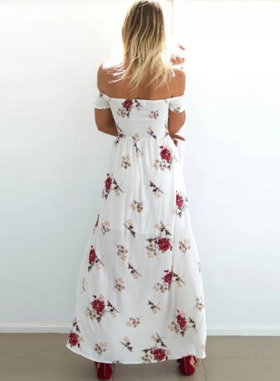 0408bd60fa82a Women s Off Shoulder New Design Short Sleeve High Slit Irregular Hem Floral  Printed High Sexy Split