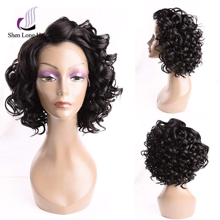 Short curly 4 inches lace front wig unprocessed human hair wig with lace