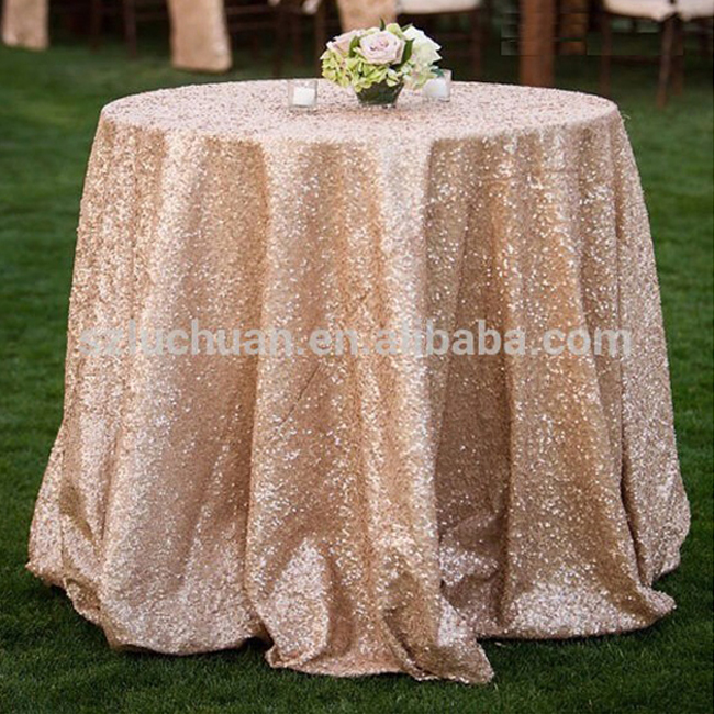 Romantic Style Beaded Fancy Rose Gold Sequin Wedding Round Table Cover