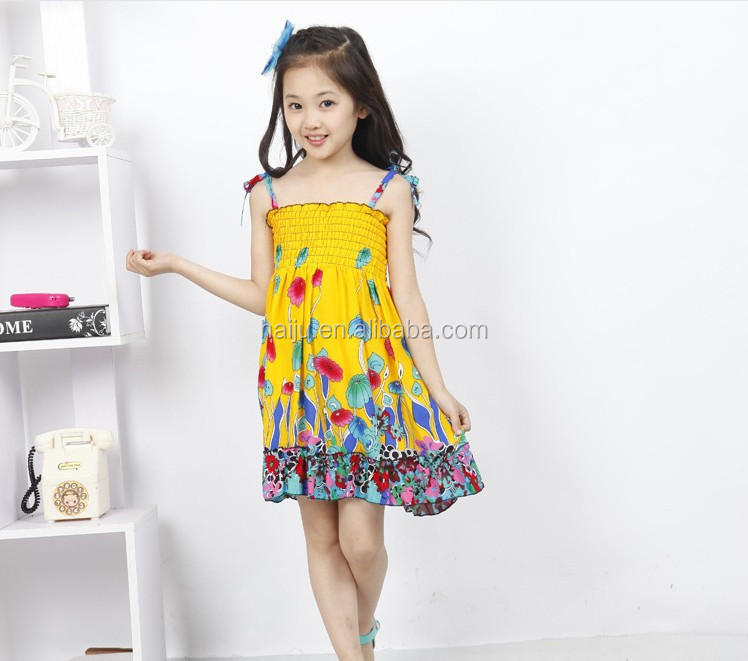 2016 new arrival baby girl 2-9 year old beach flower dress bangkok dress
