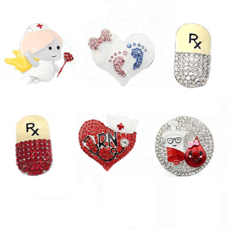 cheaper rhinestone enamel medical heart shape nurse angel brooch for nurse accessory, Various;as your choice