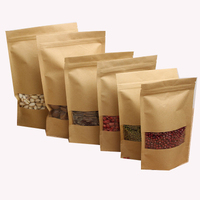 Stand-Up-Brown-kraft-paper-zipper-bag different food packing Bean food packing bag custom food packing