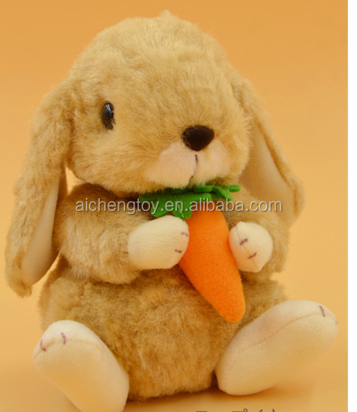 High quality custom Light brown plush <strong>rabbit</strong> with carrot Dongguan Ai Cheng Toys Factory