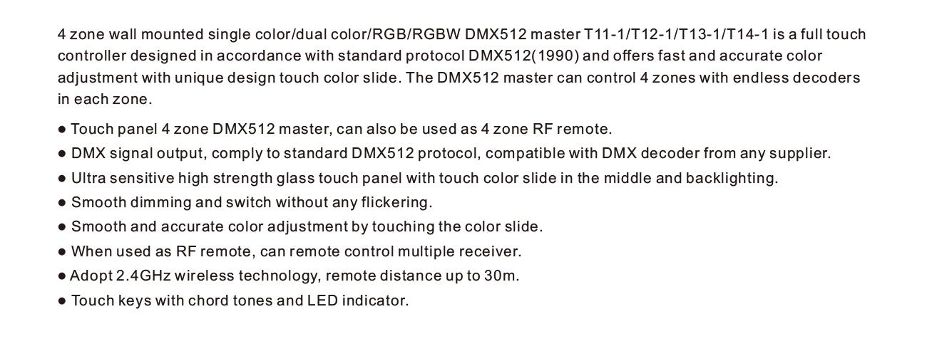 Antek 4 Zone Dmx512 Remote Rgb Led Touch Panel Dmx Controller & Rf Remote -  Buy Rgb Led Panel Dmx,Rgb Led Touch Panel Controller,Remote Dmx512