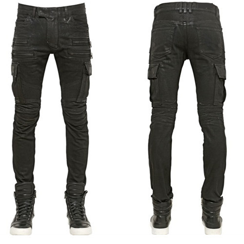 Frozac 2019 Men Jeans Design Fashion Biker Runway Hiphop Slim Jeans for Men Cotton Good Motorcycle Jeans Blue Black