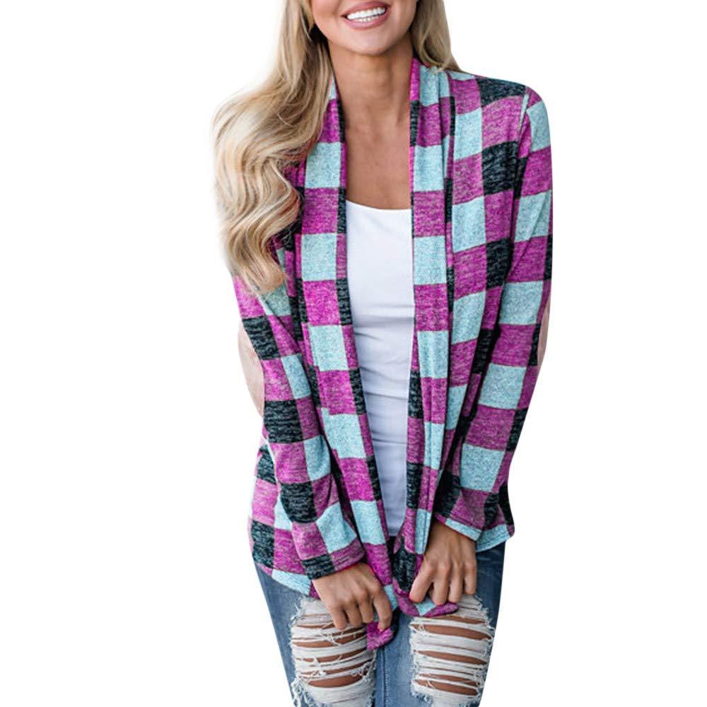 Clearance Sale ! Kshion Women's Blouse Shirt Outwear Plaid Open Cape Coat Loose Long Sleeve kimono Jacket Cardigan Tops