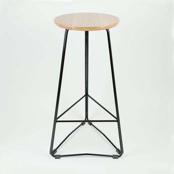 Iron Art Triangular Wire Base Round Wood Top Bar Stool With Modern ...