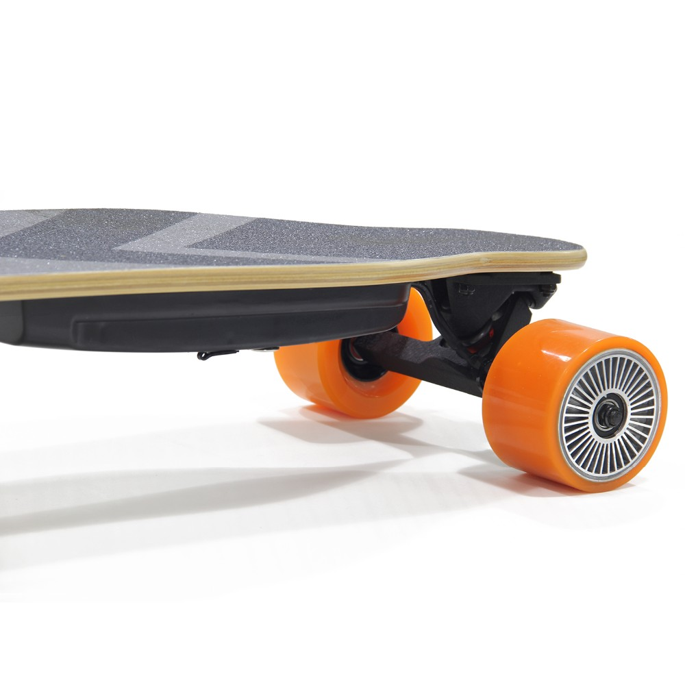 Single hub motor boosted electric longboard skateboard with wireless remote
