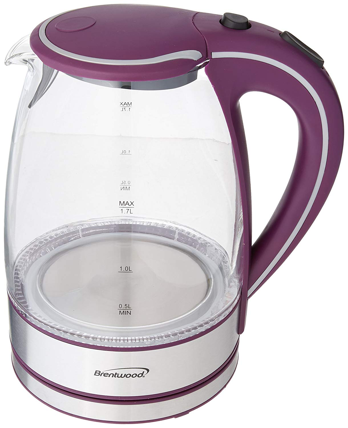 Purple Brentwood KT-1900PR Royal Edition Steel/Glass 1.7-liter Cordless Electric Kettle 1100 Watts Order Now! With E-book Gift