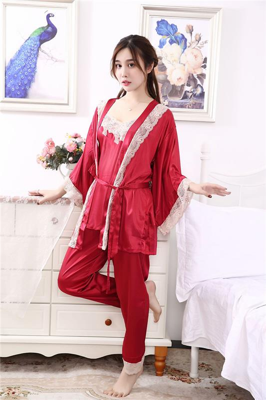 Hoge kwaliteit drie stukken womens nachtkleding sets dames nachtkleding losse vrouwelijke pyjama set Fabriek drop schip sexy nighty ontwerp