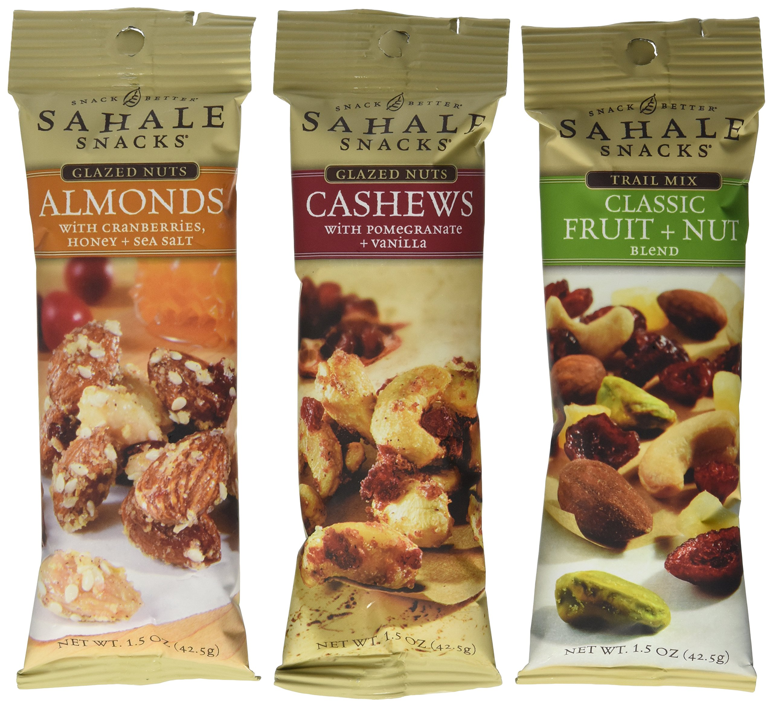 Sahale Snacks Grab And Go Nut Blends 3 Flavor Variety 6 Pack Bundle: (2) Sahale Snacks Almonds With Cranberries, Honey & Sea Salt, (2) Sahale Snacks Classic Fruit & Nut Trail Mix Blend, and (2) Sahale Snacks Cashews With Pomegranate & Vanilla, 1.5 Oz. Ea. (6 Bags Total)
