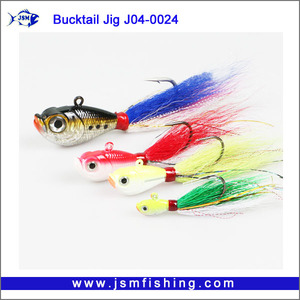 Wholesale jig fishing lure bucktail jig head with hook