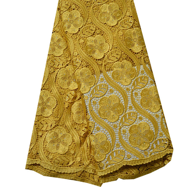 High Quality African Cord Lace Gold Color New Design African Lace Fabric High Quality African Guipure Lace Fabric For Sewing